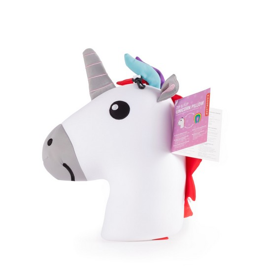 612615088191  Kikkerland Unicorn Zip & Flip Travel Pillow
